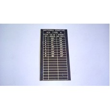 RT316 PRC316 A16 TYPE A ANTENNA LENGTHS CHART ON ALLOY PLATE, ORIGINAL NOS